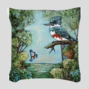 """Kingfisher's Grove"" Woven Throw Pillow"
